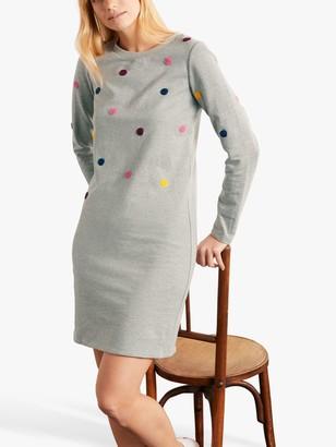 Boden Embroidered Spot Sweatshirt Dress, Grey Marl