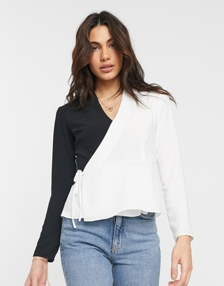 ASOS DESIGN long sleeve wrap top in mono color block