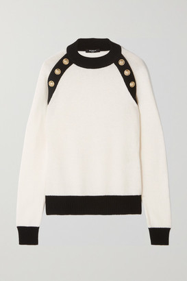Balmain Button-embellished Two-tone Wool And Cashmere-blend Sweater - White