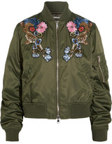 Alexander McQueen Embellished Embroidered Shell Bomber Jacket - Army green