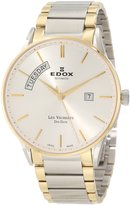 Edox Men's 83011 357J AID Les Vauberts Automatic Gold PVD Silver Dial Steel Watch