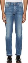 Alexander McQueen Blue Denim Frayed Jeans