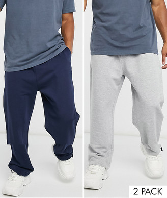 ASOS DESIGN organic super oversized joggers 2 pack in grey marl/navy with toggle hem