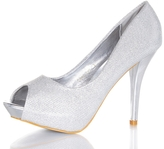 Quiz Silver Shimmer Peep Toe Court Shoes