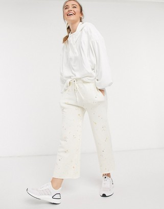 FREE PEOPLE MOVEMENT sideline printed joggers in ivory