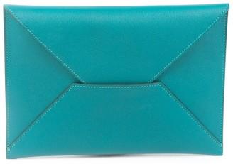 Hermes Blue Mysore Goatskin Envelope Trio Wallet
