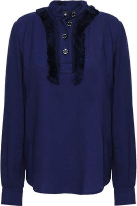 Love Moschino Fringe-trimmed Twill Top
