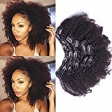 Cara hair 4B 4C Afro Kinky Curly Clip In Human Hair Extensions 7pcs/set Brazilian Remy Clip In Hair 100% Human Hair Natural Black Color 120grams/set ( 18inch )