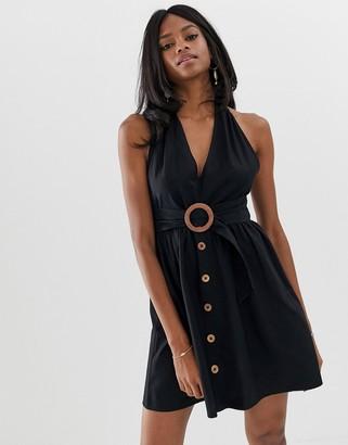 Asos Design DESIGN halter neck mini button through linen sundress with buckle-Black