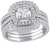 2 1/2 CT. T.W. Square Cubic Zirconia Halo Bridal Set in Sterling Silver