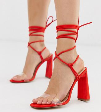 Public Desire Exclusive Demi ankle tie heeled sandals
