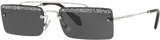 Miu Miu MU 59TS Women's Embellished Rectangular Sunglasses