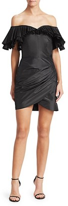 Alessandra Rich Off-The-Shoulder Pleated Ruched Silk Taffeta Butterfly Sheath Dress