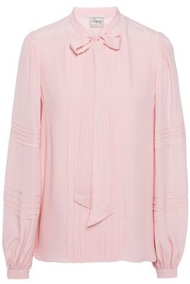 Temperley London Jade Pussy-bow Pintucked Crepe De Chine Blouse