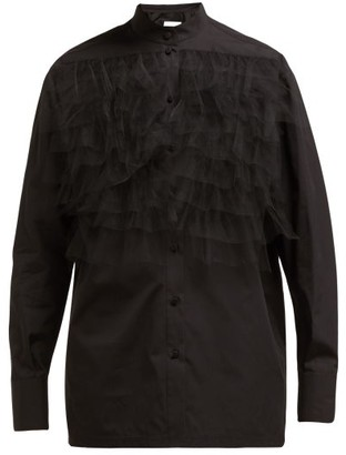 Valentino Ruffle-trimmed Poplin Blouse - Womens - Black