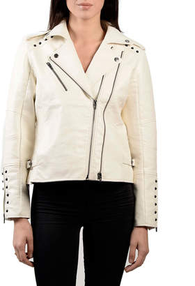 Anna Cai Faux-Leather Studded Moto Jacket