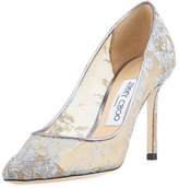 Jimmy Choo Romy Metallic Lace 85mm Pump, Silver