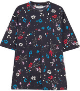 Balenciaga Oversized Floral-print Cotton-jersey T-shirt - Midnight blue