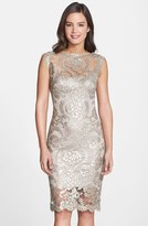 Tadashi Shoji Women's Sequin Illusion Lace Dress