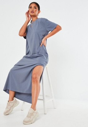 Missguided Blue Basic T Shirt Maxi Dress