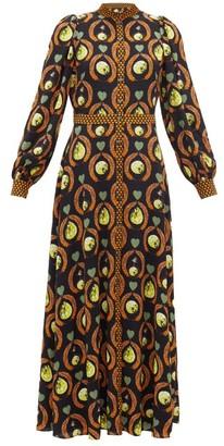 Temperley London Roselle Cosmic-print Crepe Dress - Womens - Black Multi