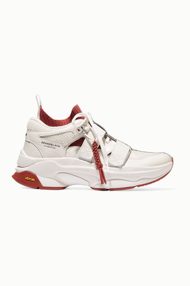 Brandblack Pushbutton Saga Leather, Mesh And Stretch-knit Sneakers - White