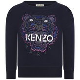 Kenzo KidsGirls Navy Blue Tiger Sweater