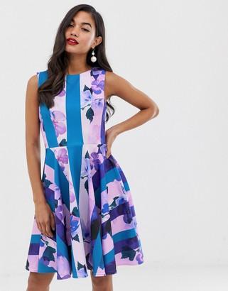 Closet London scuba sleeveless skater dress in stripe floral print
