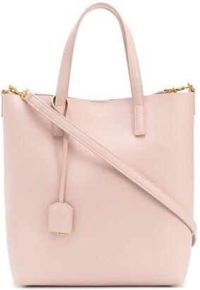 Saint Laurent leather tag detail tote bag