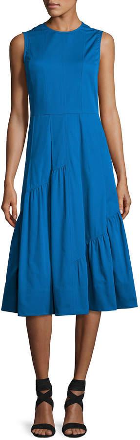 Derek Lam Sleeveless Shirred-Skirt Midi Dress, Turquoise