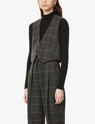 The Kooples Checked wool-blend waistcoat