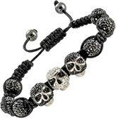 JCPenney Mens Crystal Skulls & Beads Hematite Bracelet