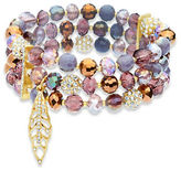lonna & lilly Faceted Glass Stone Three-Row Stretch Bracelet
