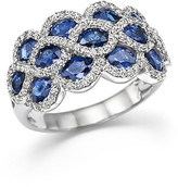 Bloomingdale's Diamond and Sapphire Triple Row Ring in 14K White Gold
