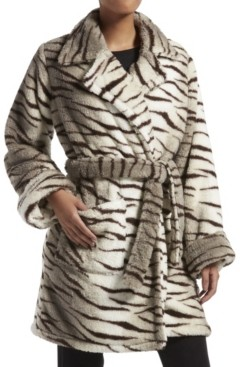 KENDALL + KYLIE Kendall + Kyle Zebra Fuzzy Trench Wrap Robe, Online Only