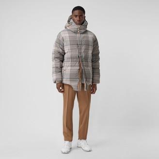 Burberry Cut-out Hem Check Nylon Twill Puffer Jacket