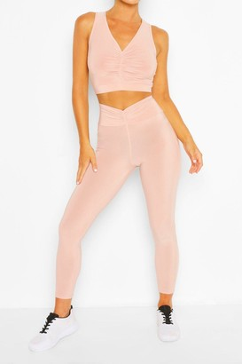 boohoo Ruch Front Gym Leggings