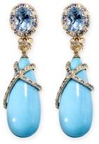 John Hardy Diamond gemstone 18k yellow gold turquoise drop earrings