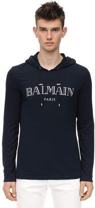 Balmain Logo Print Hooded Cotton Jersey T-shirt