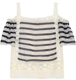 Alberta Ferretti Cold-shoulder Crochet-trimmed Striped Silk-organza Top