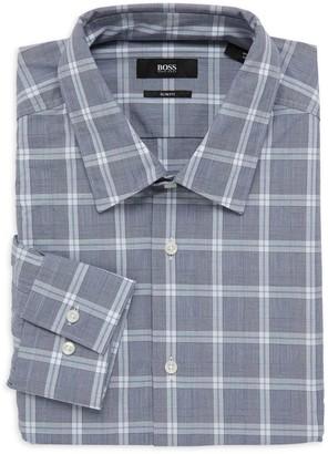 HUGO BOSS Slim-Fit Windowpane Check Dress Shirt