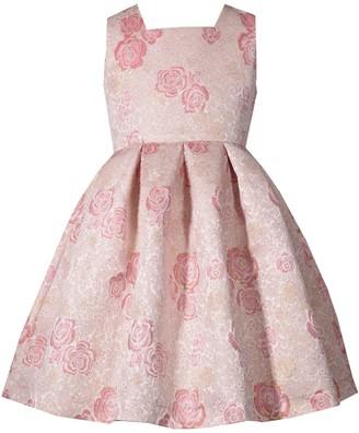 Bonnie Jean Girl's 7-16 Jacquard Waistline Open Back Bow Dress