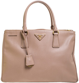 Prada Nude Beige Saffiano Lux Leather Medium Double Zip Tote