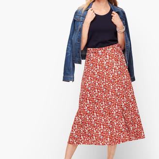 Talbots Floral & Vines Wrap Midi Skirt