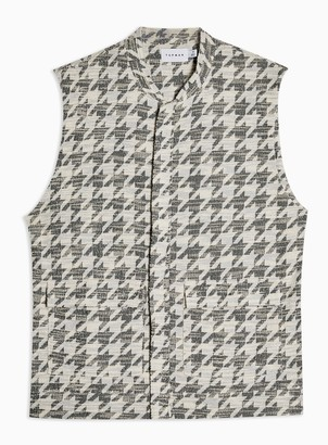 Topman White and Grey Houndstooth Gilet