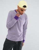 Obey Apex Long Sleeve Striped T-shirt With Small Logo In Purple