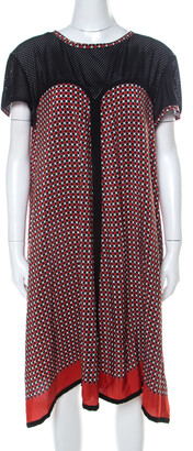 Jean Paul Gaultier Red and Black Geometric Printed Silk Perforated Knit Detail Dress L
