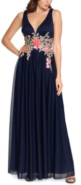 Betsy & Adam Embroidered-Waist Gown