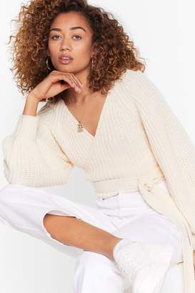 Nasty Gal Womens Don't Tie So Hard Wrap Cropped Cardigan - white - S