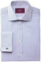 Charles Tyrwhitt Slim Fit Semi-Cutaway Collar Luxury Poplin Blue Cotton Formal Shirt Double Cuff Size 15.5/35